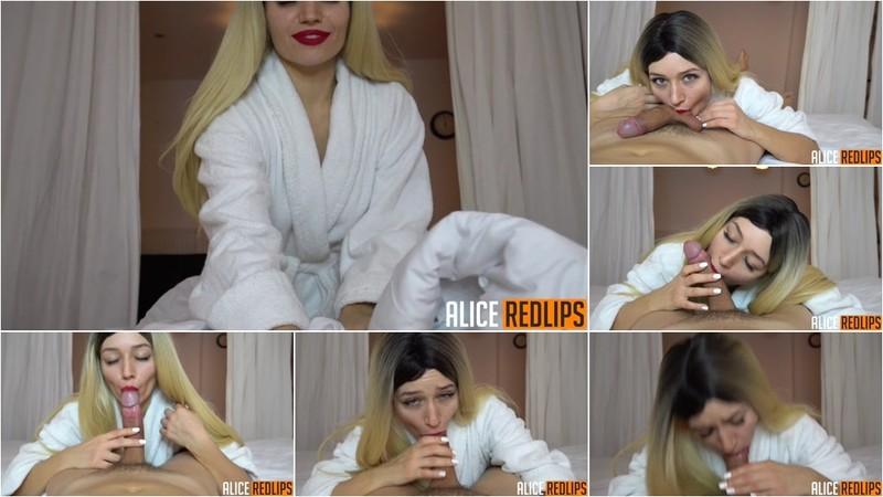 Alice Redlips - Cutie after a Shower Sucks her Boyfriend and Gets Cum in her mouth [FullHD 1080P]