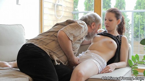 Ilona - Beautiful Girl Gets Fucked By A Horny Old Man, Her Boyfriend Comes And Watches [SD/480p]