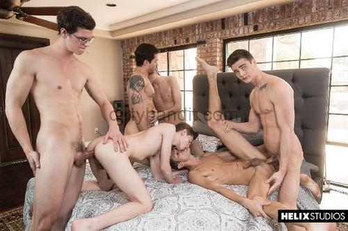 Helix - Inside Helix: The Orgy Bareback (Travis Stevens, Ashton Summers, Johnny Hands, Riley Finch, Jacob Hansen, Garrett Kinsley)