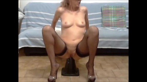 Horny wife rides on a monster road cone - New Extreme Fisting, Big Dildo