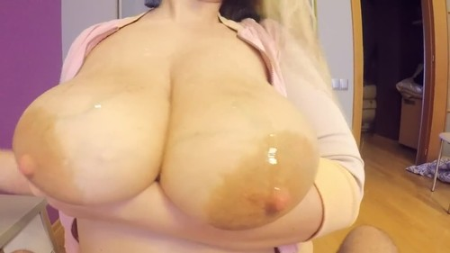 Busty Chick Jerks A Long Dong With Her Tits [HD]