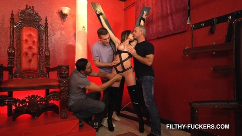 Gets Penetrated And Dominated By Three Big Cocks In This Filthy Foursome [FullHD]