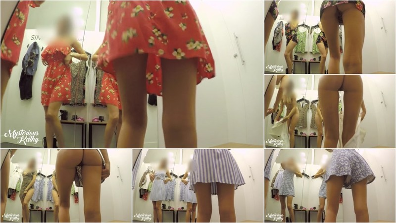 MysteriousKathy - VOYEUR CAMERA IN THE WOMEN'S FITTING ROOM - UPSKIRT NO PANTIES [FullHD 1080P]