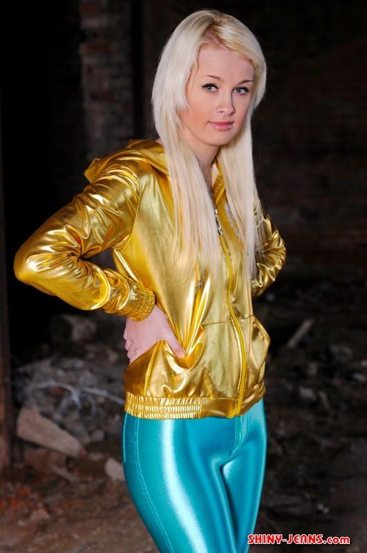 blonde model Tanya H in kinky disco pants
