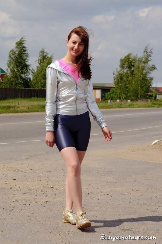 athlete girl Galina in candid yogashorts