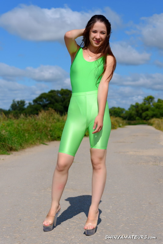 russian model Christina G in green lycra outfit