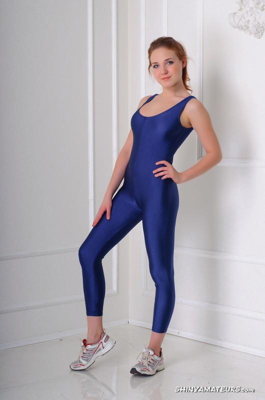 athlete girl Lena D in blue lycra unitards