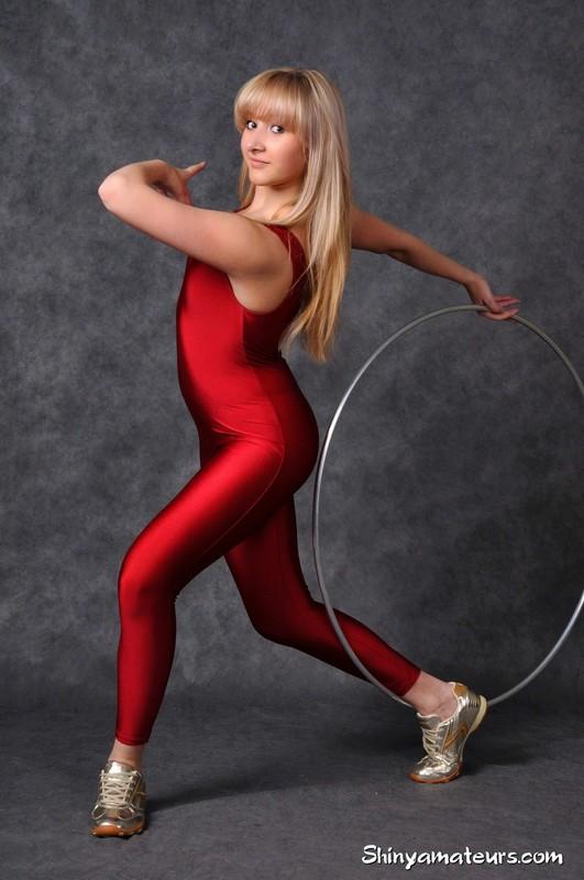 hula hoop girl Christina S in sexy burgundy unitards