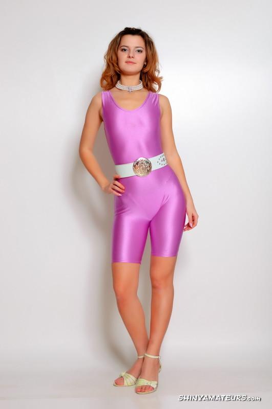 attractive woman Jenya in purple lycra