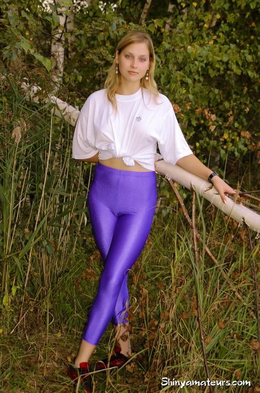sporty girl Dasha B in purple yoga pants