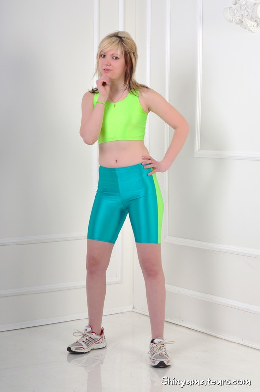 fitness instructor Diana in sexy green yoga shorts