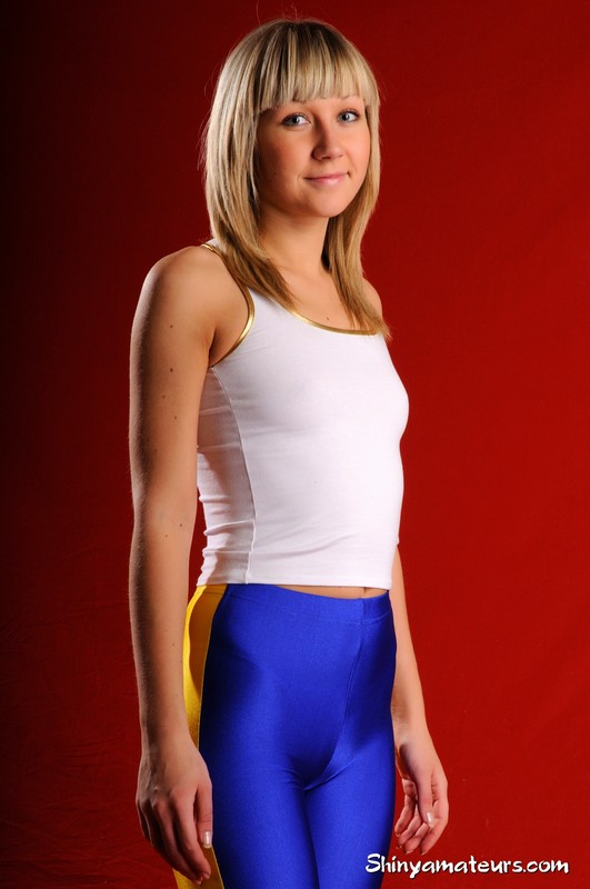 gym instructor Lena S in lycra shorts