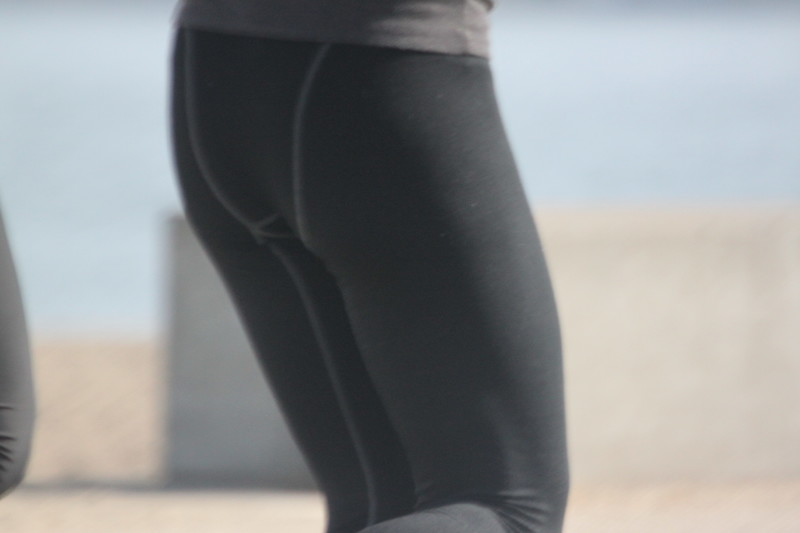 handsome jogger lady in yoga pants