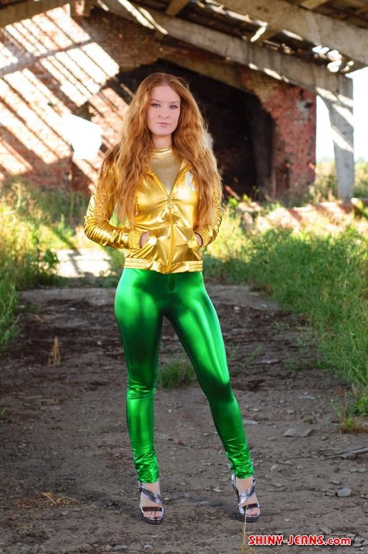 lovely chick Katya V in green wetlook pants