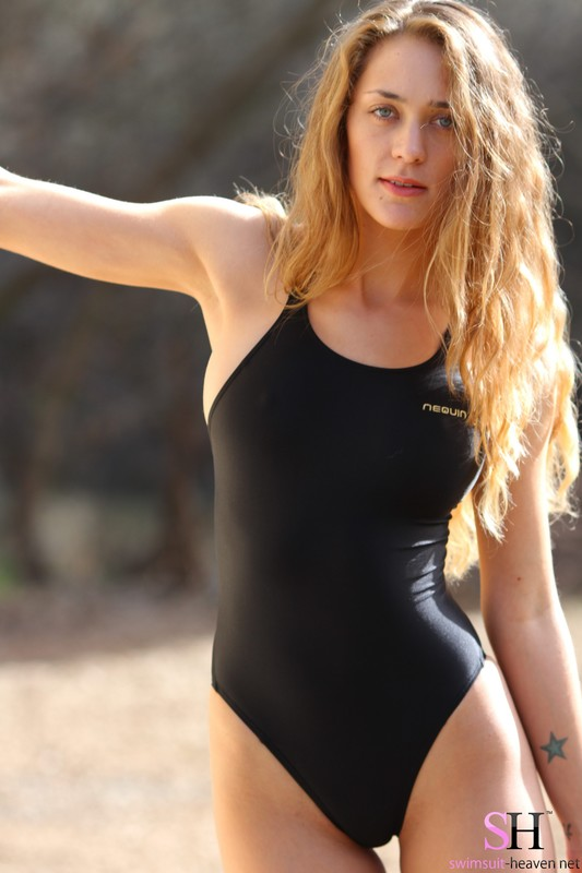 charming lady Ashley Light in black 1 piece swimsuit