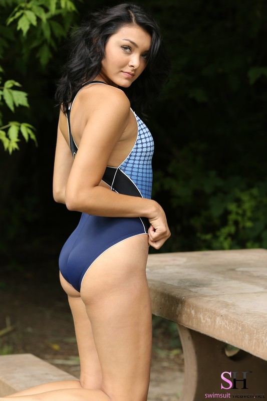 forest hiker girl Anna in nike swimsuit