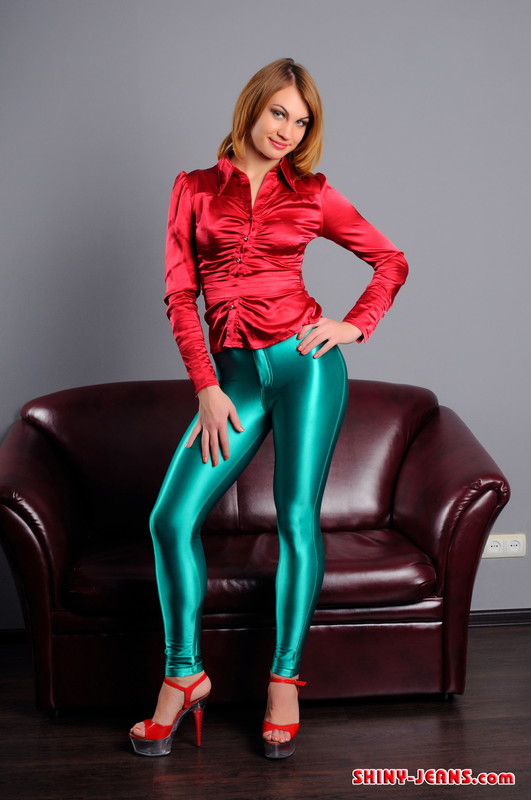 college babe Julia U in green wetlook pants