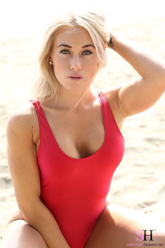 blonde girl Katie in red baywatch swimsuit