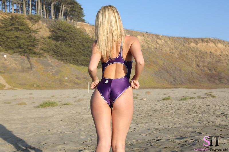 beach chick Shannyn in purple asics swimsuit