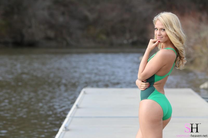 blonde lady Shannyn in green nike swimsuit