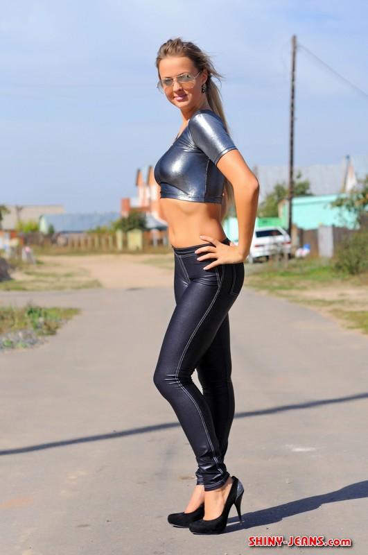 gymnast lady Katya T in black tight jeans