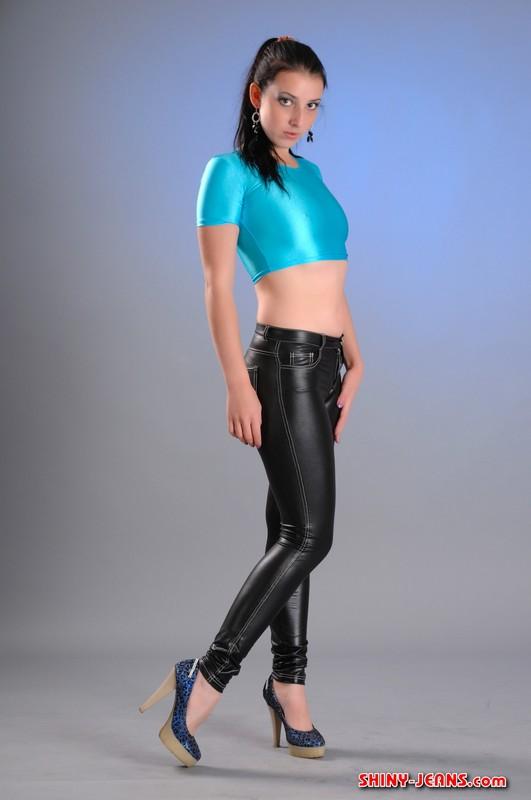 slavic model Irina D shiny pants fetish gallery