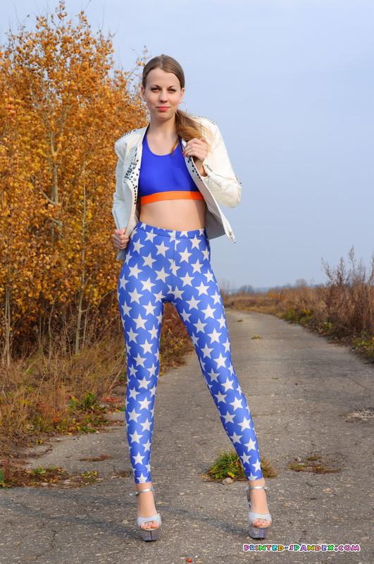 petite slavic teen Julia V in naughty star print leggings