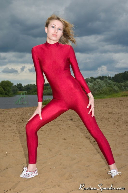 fit slavic babe in red catsuit