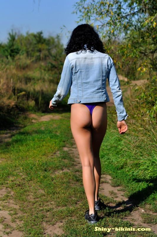 hiker girl Natasha in purple bikini & denim jacket