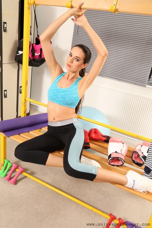 fitness instructor Nikola in kinky spandex outfit