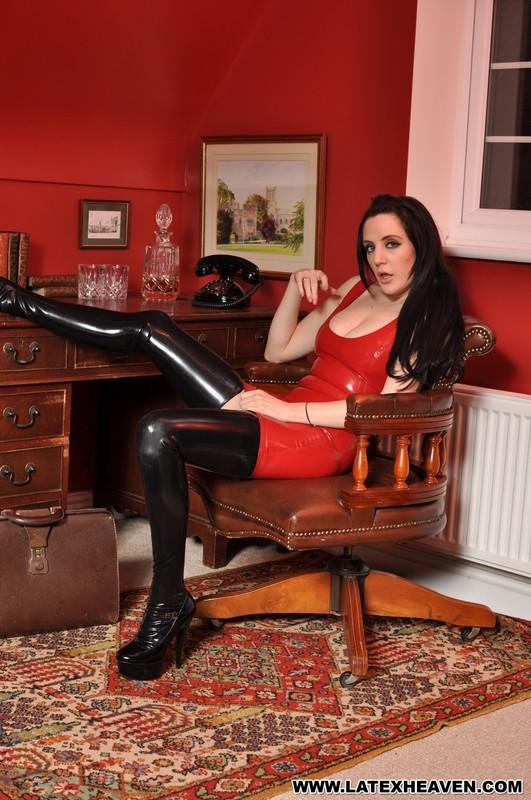 horny model Samantha Bentley in red latex dress & black latex stockings