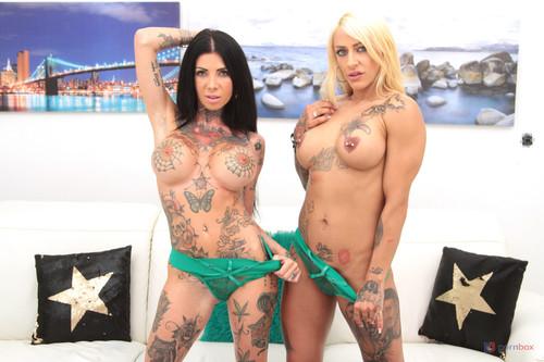 LegalPorno - Tattooed sluts Megan Inky and Harleen Van Hyteen double anal fucked together in hot 5on2 orgy SZ2533