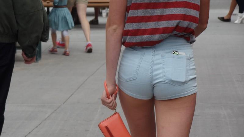 horny teen in tight denim shorts