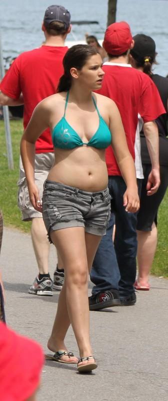 lovely college chick in shorts & green bikini