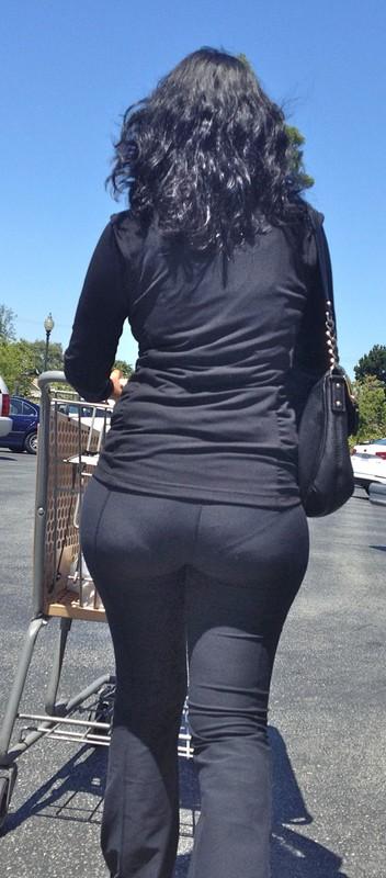 brunette milf in kinky black pants