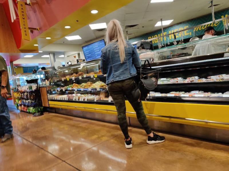 blonde milf in camouflage leggings