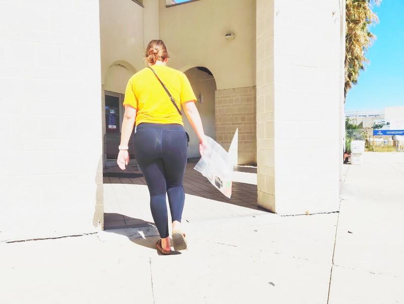 tasty milf ass in black lycra pants