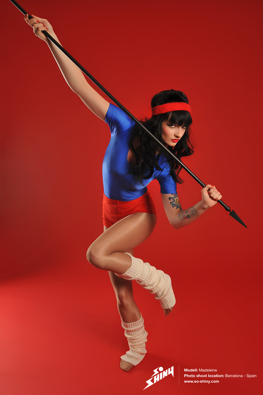 spanic lady Madeleine in sexy red shorts & blue leotards