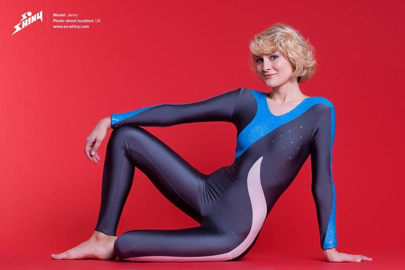 gymnast lady Jenny in shiny catsuit