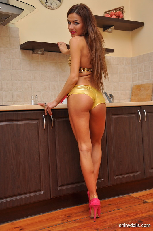 lovely housewife in shorts & high heels