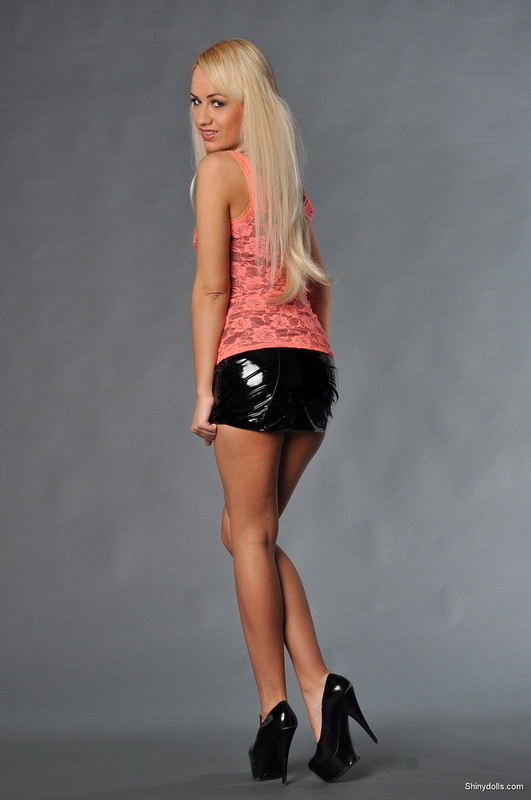 leggy babe Candy in black miniskirt