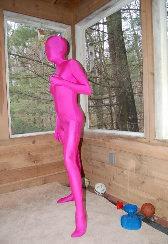 hot babe Gina in purple zentai bodysuit