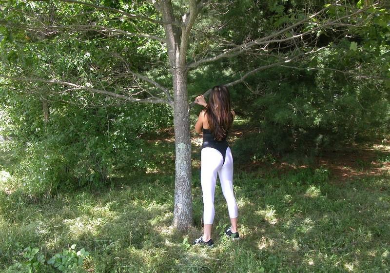 forest hiker Lexi in white leggings & leotards