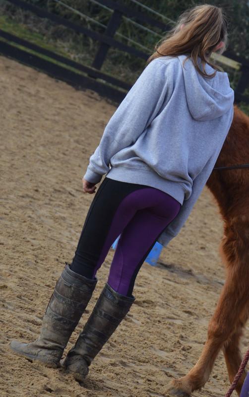 gorgeous teen in purple jodhpurs & boots