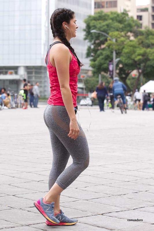 sporty latina girl in grey yogapants