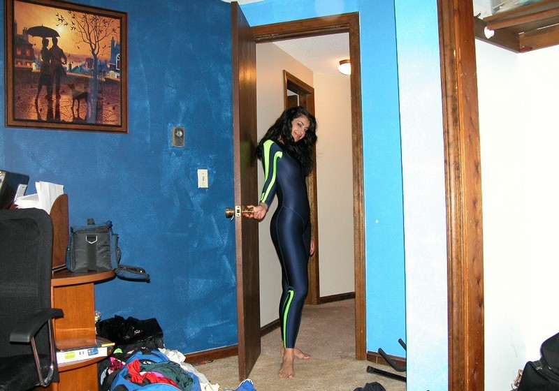 brunette lady Elana in sexy adidas catsuit