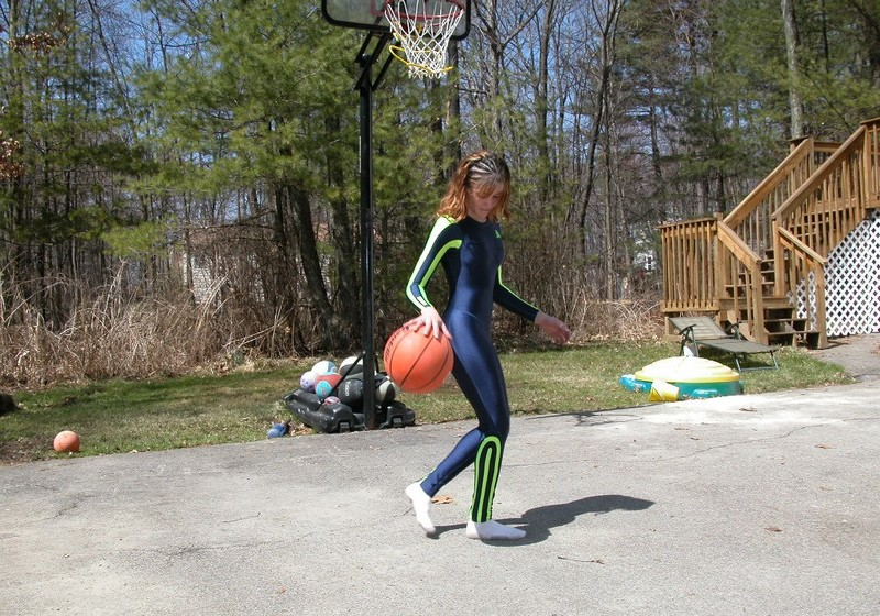 pretty basketball chick Tiffany in adidas catsuit