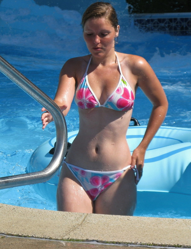 pool girl in sexy wet bikini