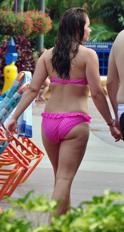 beautiful wife in pink polka dot bikini