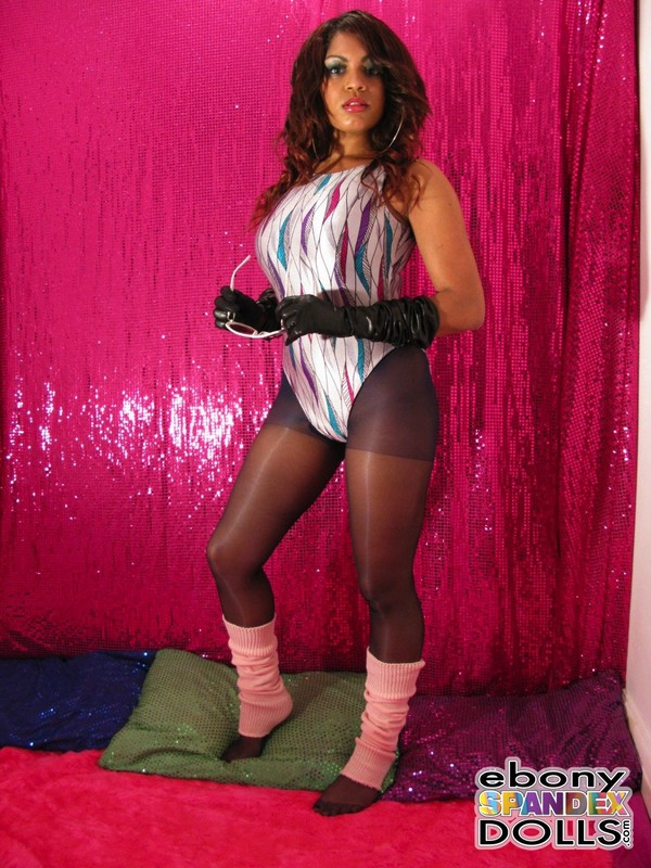 aerobics girl Janine in leotards & pantyhose